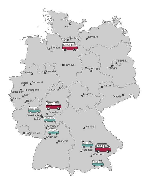 roadsurfer Standorte, VW Camper München, Hamburg, Frankfurt