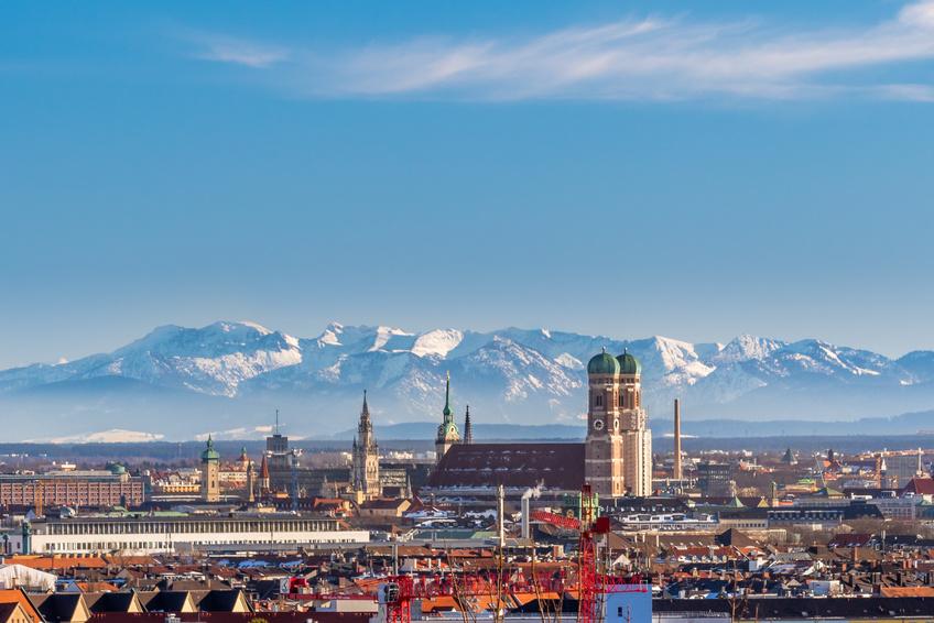 München Panorama, Frauenkirche, Alpen,
