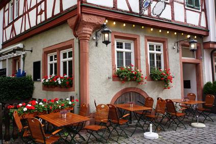 Gasthaus in der historischen Altstadt, Aschaffenburg, Bayern, Deutschland