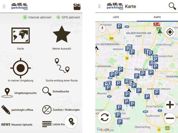 Stellplatz finden: Suchmaske der App Park4night und gefundene Stellplätze in München