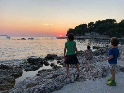 Camping in Kroatien auf Mali Losinj: Sonnenuntergang auf Camping Cikat
