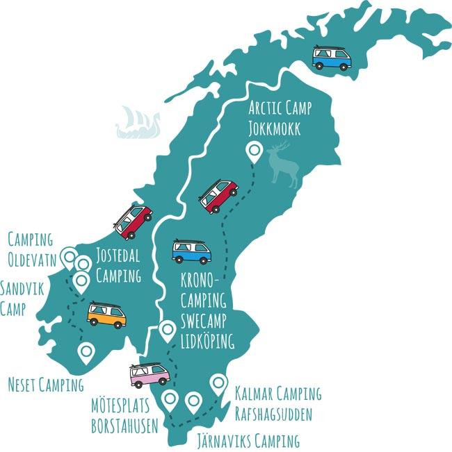 roadsurfer-Campingplätze Schweden & Norwegen
