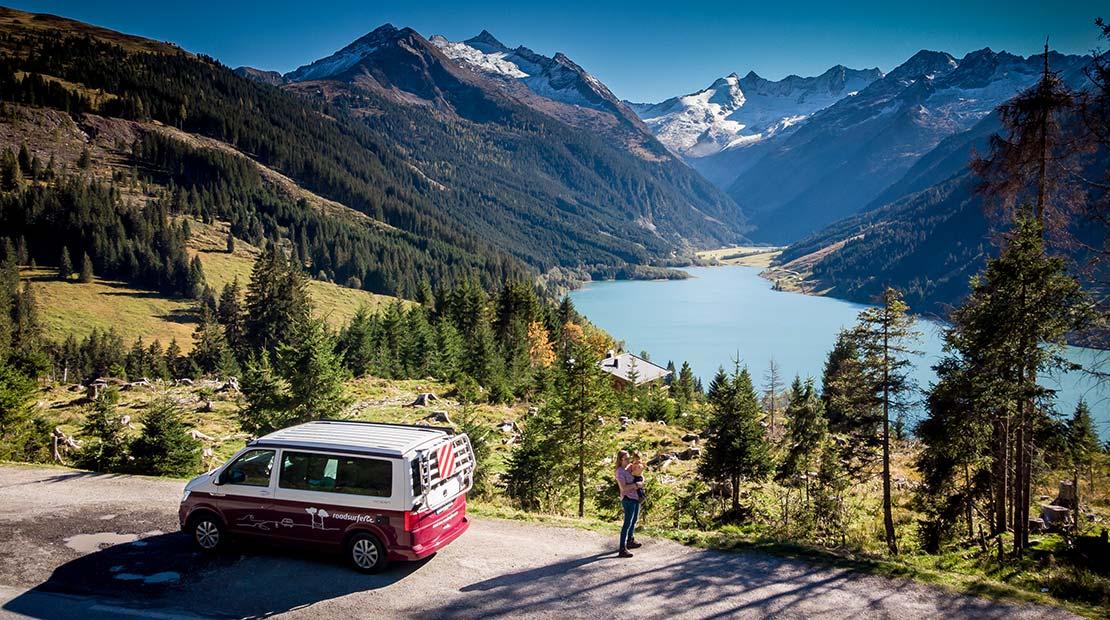 Camping mit Kleinkind Bus Panorama