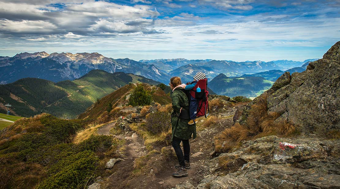Camping with a baby Wandern Panorama
