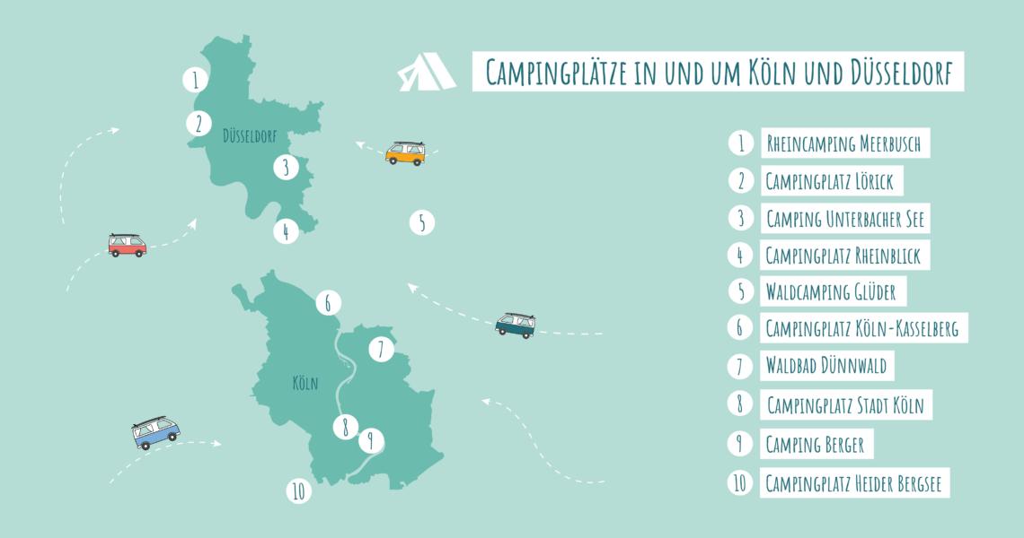 Hier kommen unsere Top 10 Campingplätze in Köln, Düsseldorf und Umgebung