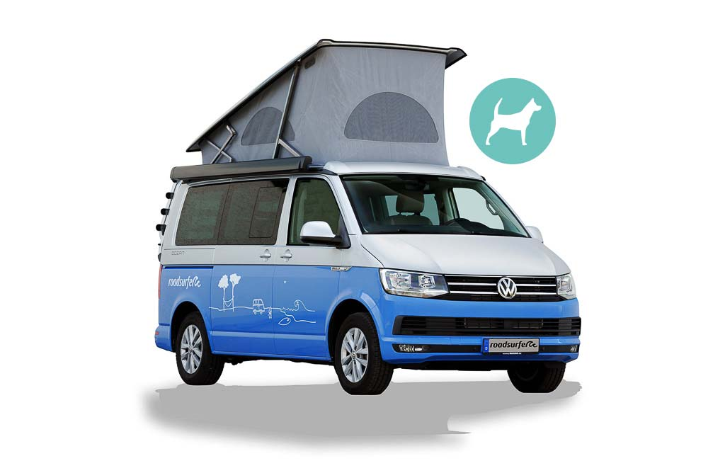 VW California Ocean-Dog-Surfersuite-Aufstelldach Frontansicht