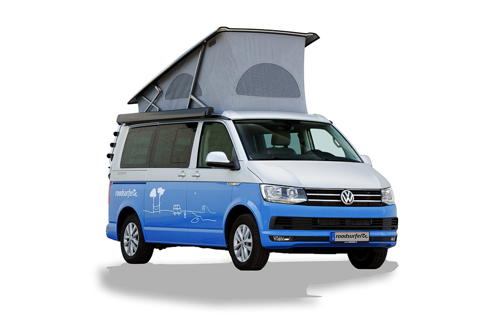 VW California Ocean mieten Dog Suite pop up roof front view