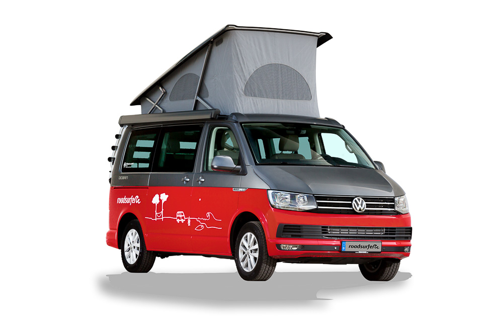 VW T6 California Ocean hire surfer suite pop up roof front view