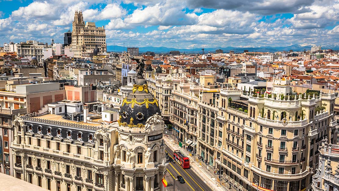 madrid, gran via, spain