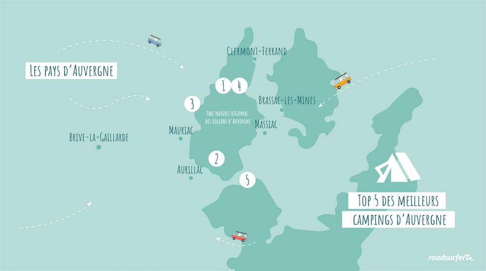 Carte des meileurs campings en Auvergne