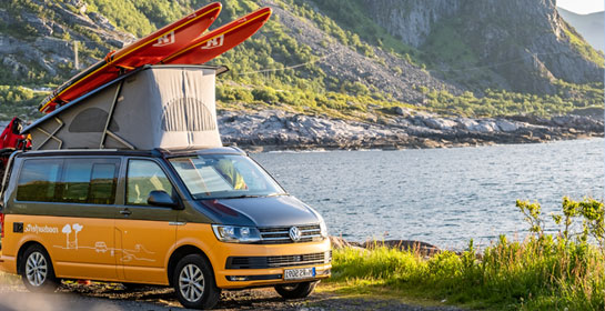 roadsurfer van with sports equipment