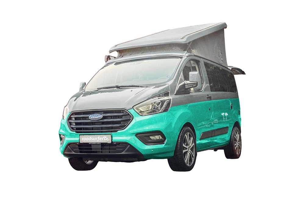 Ford Nugget with pop-up roof hire