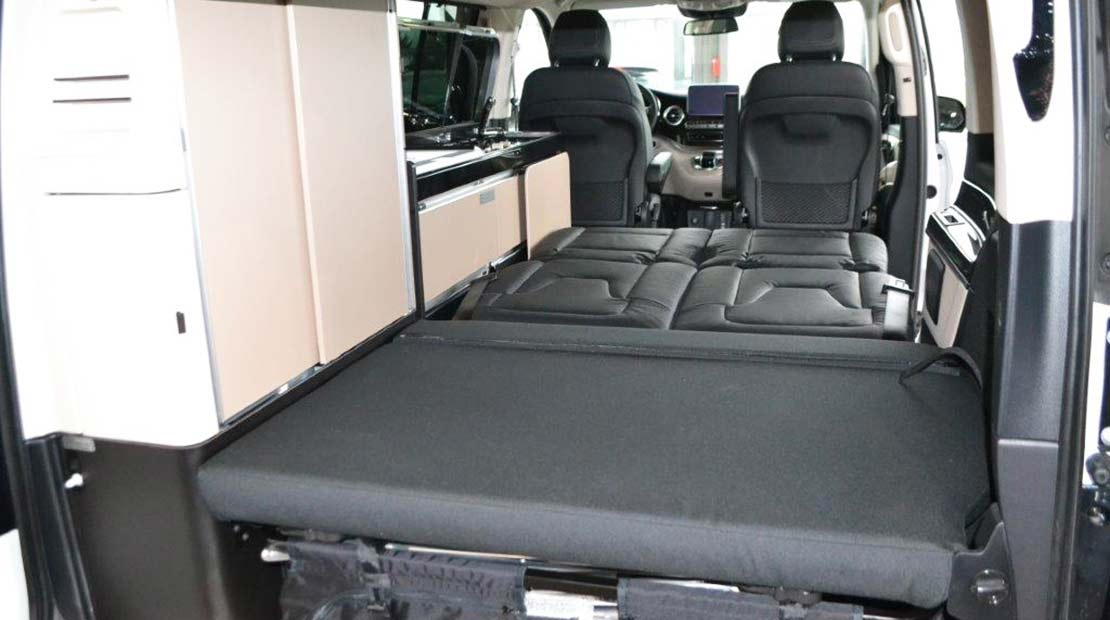 mercedes marco polo hire interior view bed