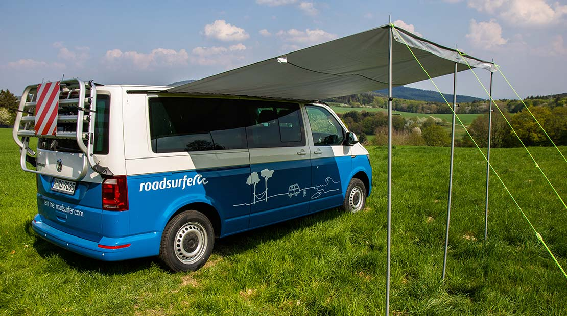 rent a vw camper with a roof top tent Beach Hostel