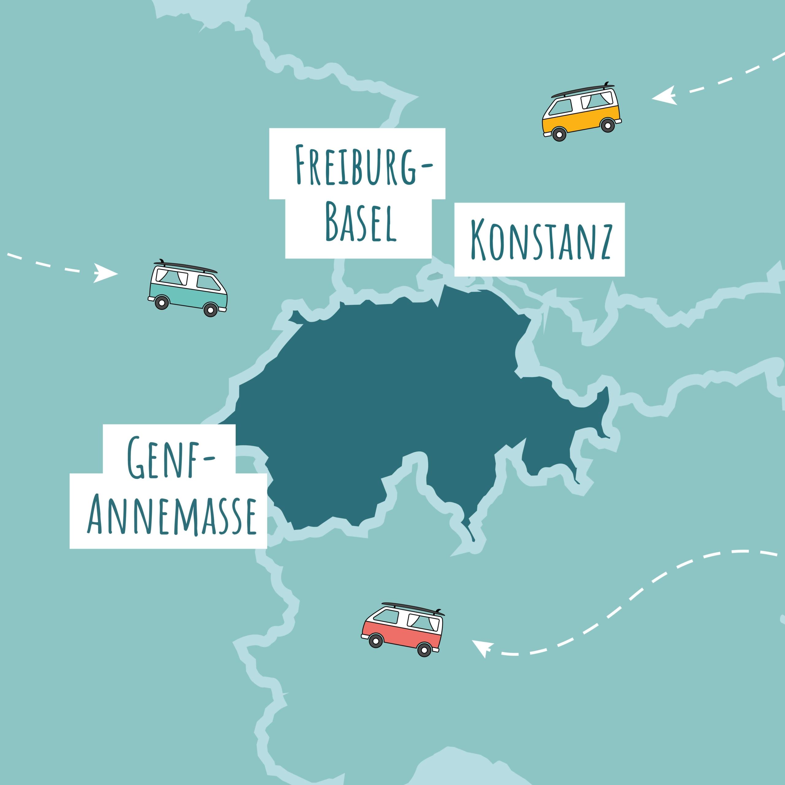Standorte rund um die Schweiz