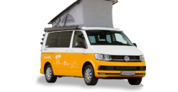 vw california beach hire pop-up roof front view